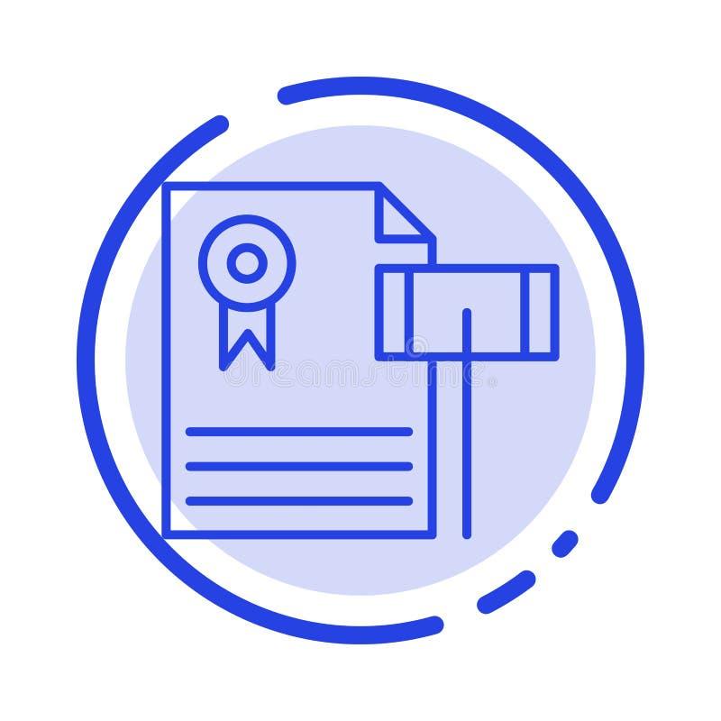 Vente aux enchères, cru, cher, gravier, ligne icône de Blue Dotted Line de juge illustration libre de droits