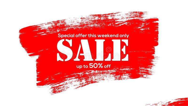 Vente Bannière créative à vendre avec des remises Grandes courses de brosse de la peinture acrylique rouge d'isolement sur le fon illustration stock