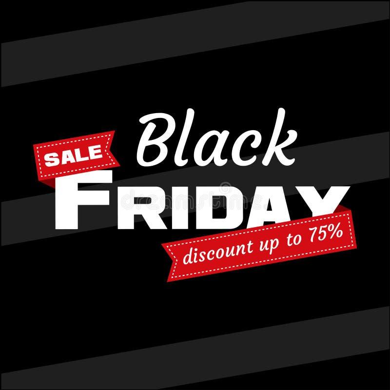 Vente blanche de BLACK FRIDAY d'inscription avec le ruban rouge sur le fond noir Bannière de Black Friday de calibre de conceptio illustration de vecteur