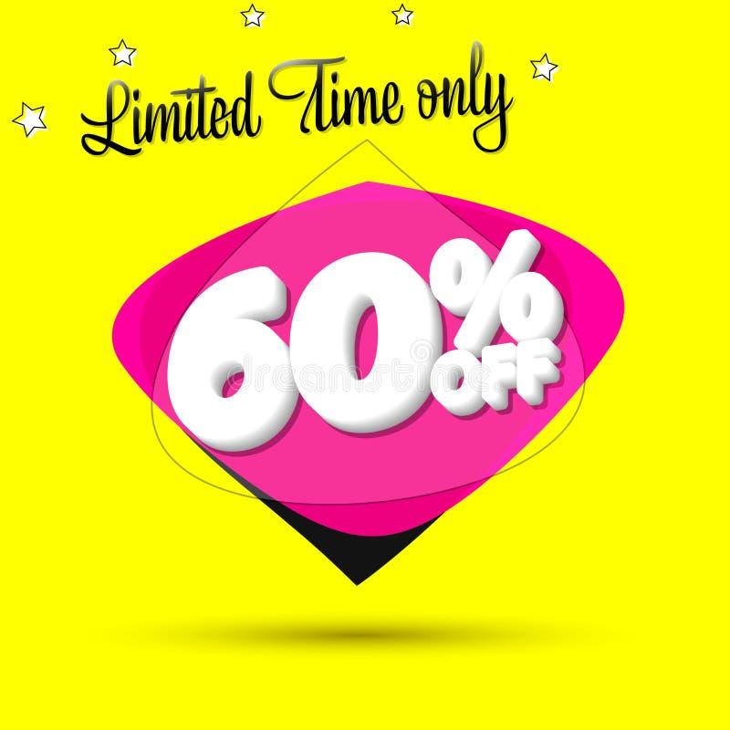 Vente 60%, calibre de conception de bannière de bulle, étiquette de remise, temps limité seulement, icône d'appli, illustration d illustration de vecteur