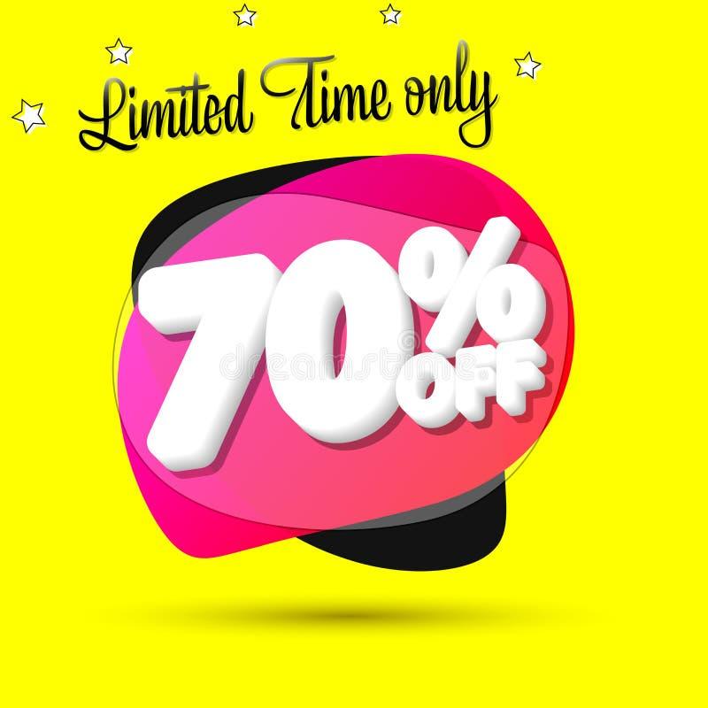 Vente 70%, calibre de conception de bannière de bulle, étiquette de remise, temps limité seulement, icône d'appli, illustration d illustration de vecteur