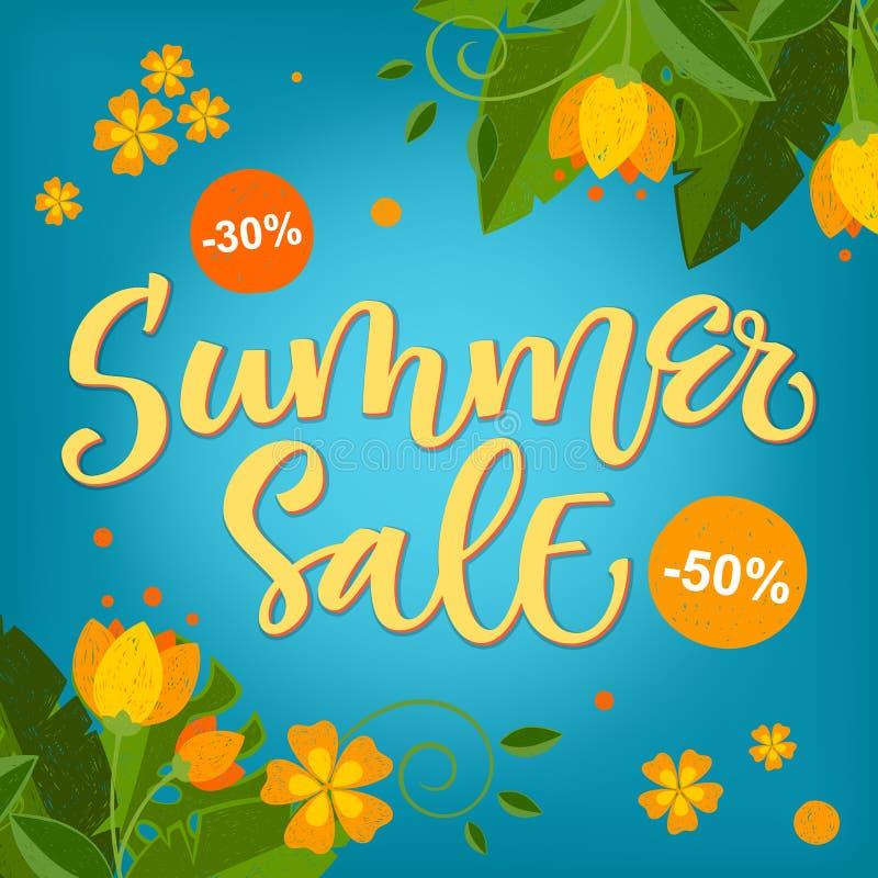 Vente d'été - conception colorée lumineuse de calligraphie avec les éléments floraux illustration stock
