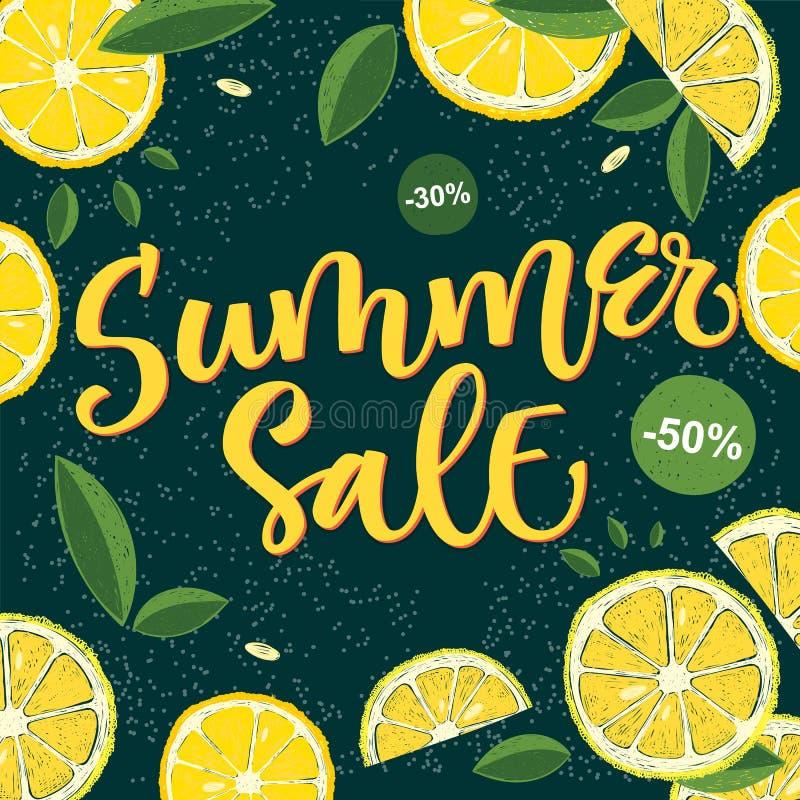 Vente d'été - conception colorée lumineuse de calligraphie avec les éléments floraux illustration libre de droits