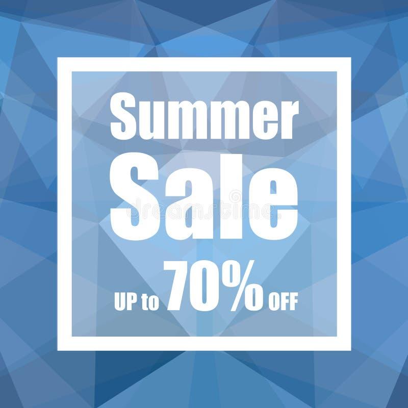 Vente d'été jusqu'à 70% avec le style de fond d'abrégé sur polygone conception pour une boutique et des bannières de vente illustration stock