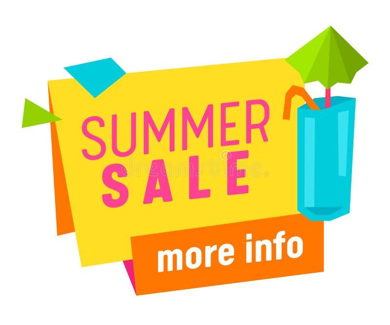 Vente d'été plus de bannière de l'information, étiquette, icône avec le cocktail tropical d'isolement sur le fond blanc, affiche  illustration libre de droits