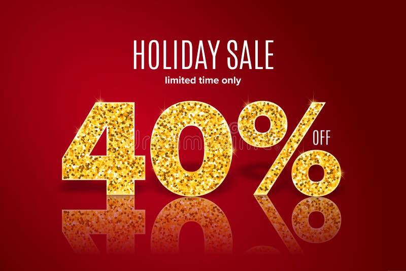 Vente d'or de vacances 40 pour cent sur le fond rouge Temps limité seulement illustration stock