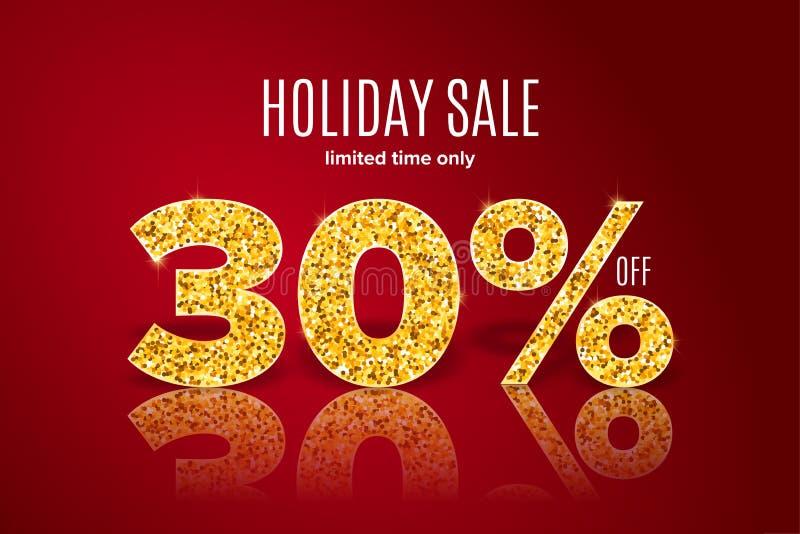 Vente d'or de vacances 30 pour cent sur le fond rouge Temps limité seulement illustration stock