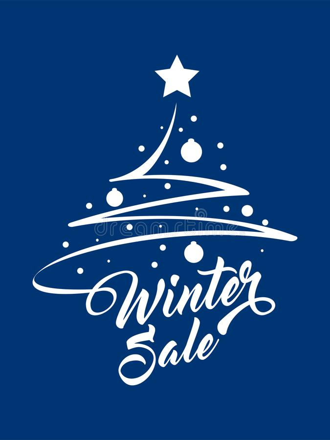 Vente d'hiver d'inscription avec l'arbre de Noël illustration libre de droits