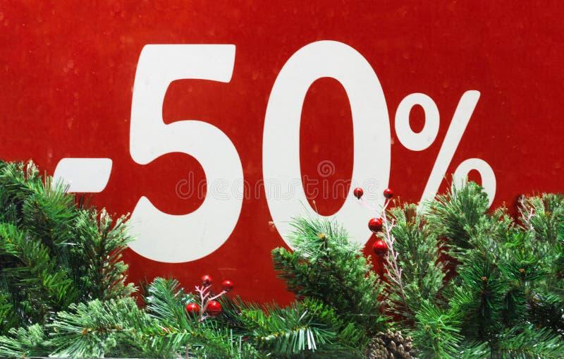 Vente d'hiver 50 pour cent Fond rouge images libres de droits