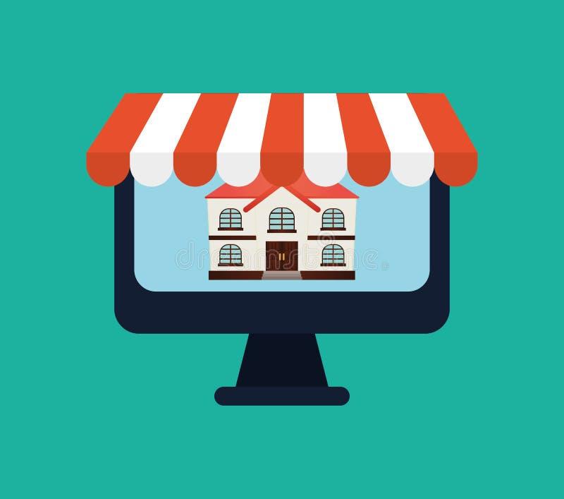 Vente d'immobiliers en ligne illustration de vecteur