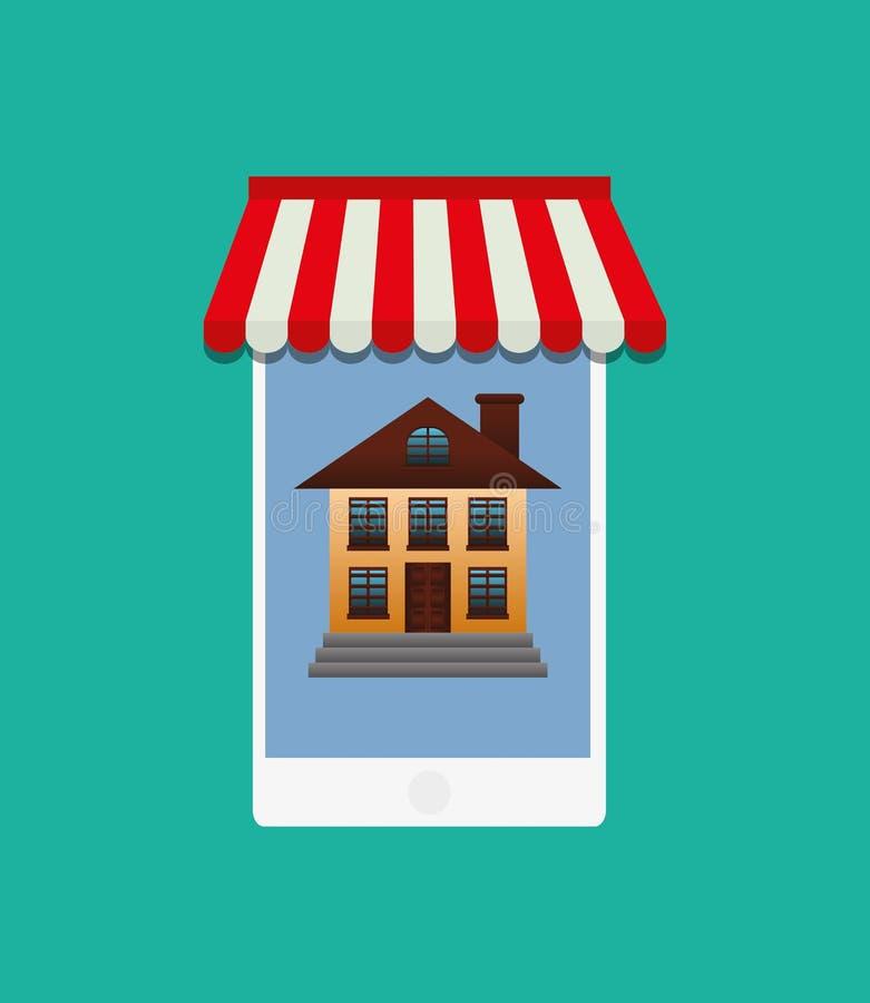 Vente d'immobiliers en ligne illustration stock