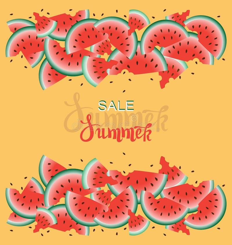 Vente d'?t? Fond orange avec les pastèques juteuses mûres illustration libre de droits