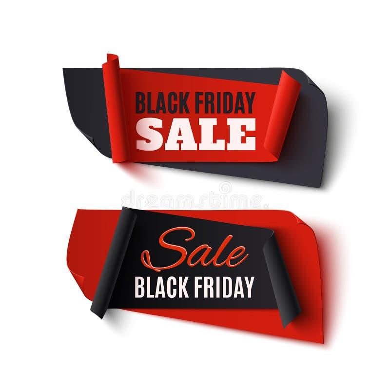 Vente de Black Friday, deux bannières abstraites sur le blanc illustration libre de droits
