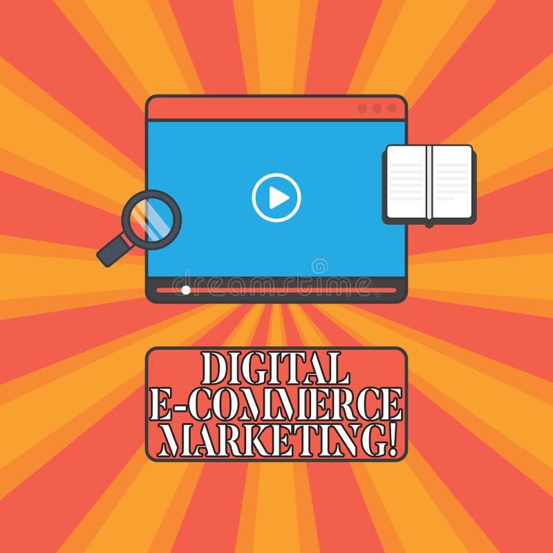 Vente de commerce électronique de Digital des textes d'écriture Le concept signifiant des achats et la vente des biens et des ser illustration stock