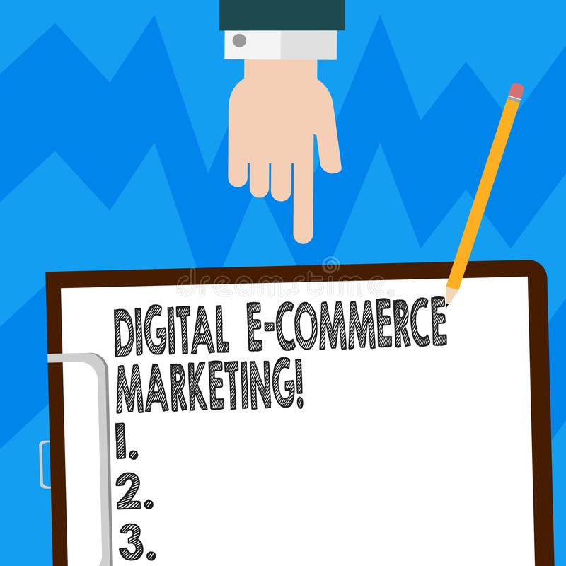 Vente de commerce électronique de Digital des textes d'écriture de Word Concept d'affaires pour l'achat et la vente des biens et  illustration de vecteur