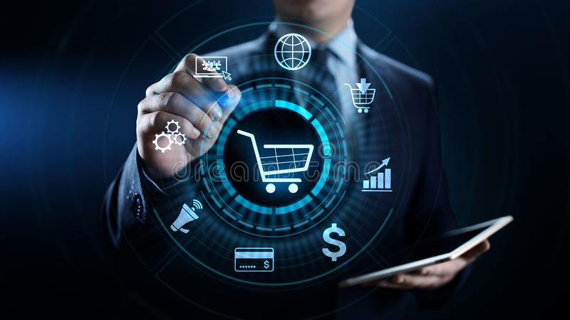 Vente de Digital de commerce électronique et concept de achat en ligne de technologie d'affaires de ventes image libre de droits
