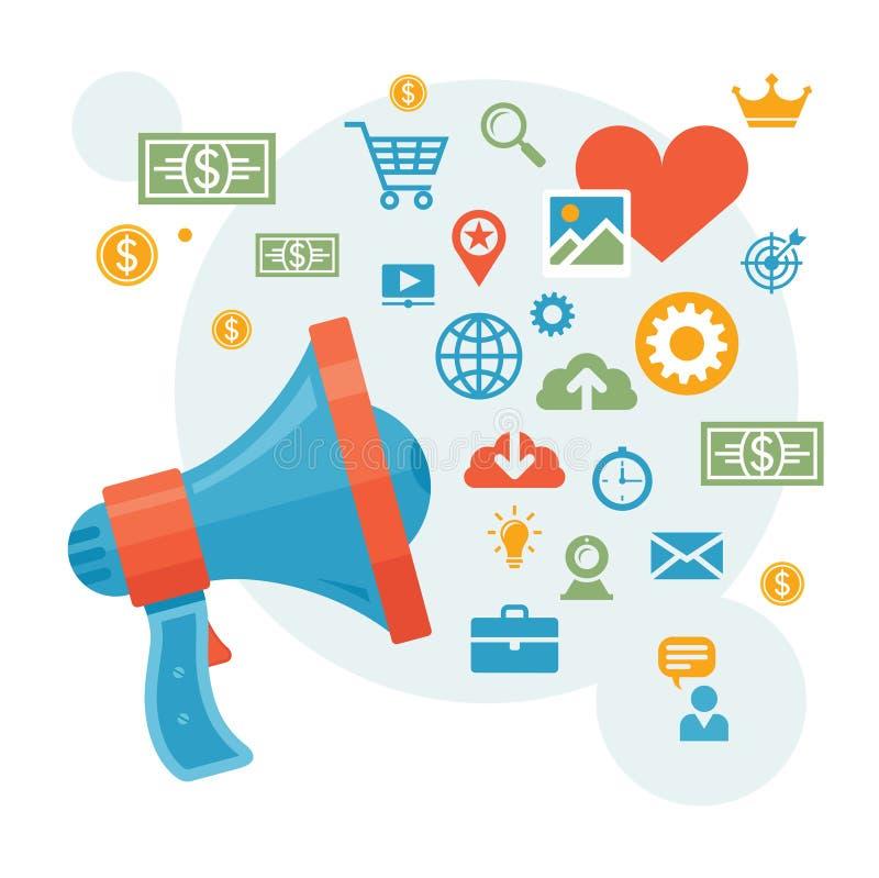 Vente de Digital et publicité - illustration de vecteur de concept de haut-parleur illustration libre de droits