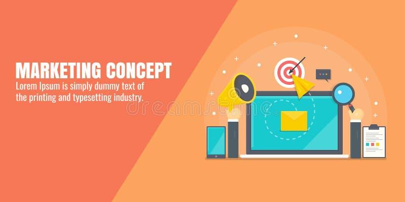 Vente de Digital, la publicité d'Internet, promotion satisfaite, seo, media social lançant le concept sur le marché Bannière plat illustration libre de droits