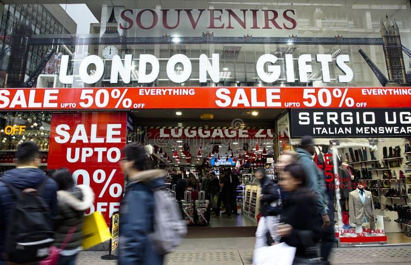 Vente de janvier, rue d'Oxford, Londres photo libre de droits