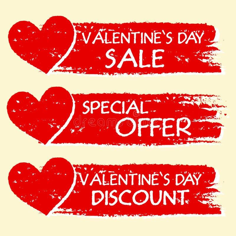 Vente de jour de valentines et remise, offre spéciale avec des coeurs dans r illustration libre de droits