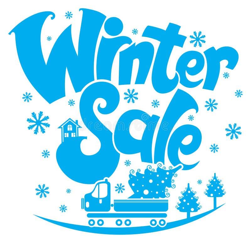Vente de l'hiver Arbre de camion et de Noël illustration stock