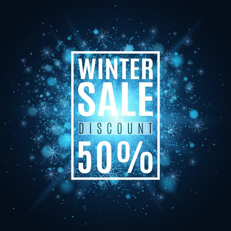 Vente de l'hiver Vente superbe de Noël Couverture pour votre projet Flocons de neige en baisse et un éclair lumineux avec des fus illustration de vecteur