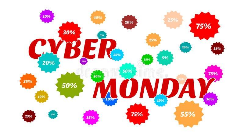 Vente de lundi de Cyber - beaucoup de pourcentages et couleurs de ventes illustration de vecteur