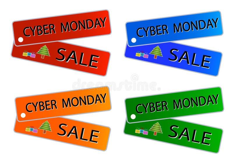 Vente de lundi de Cyber sur des étiquettes de couleurs de Muti illustration libre de droits