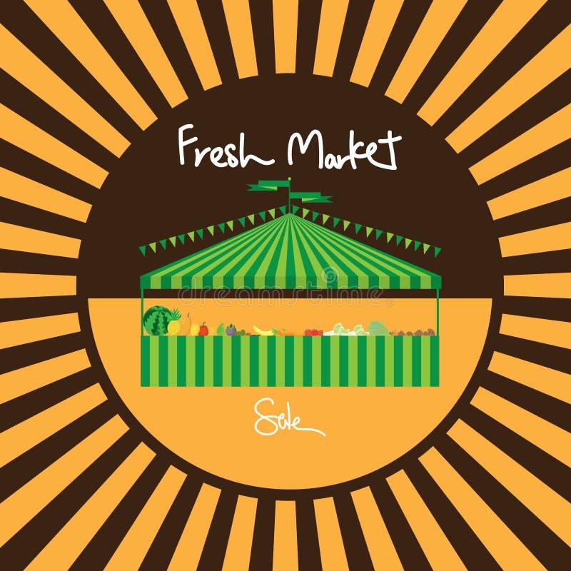 Vente de marché de produits frais de tente de carnaval illustration stock