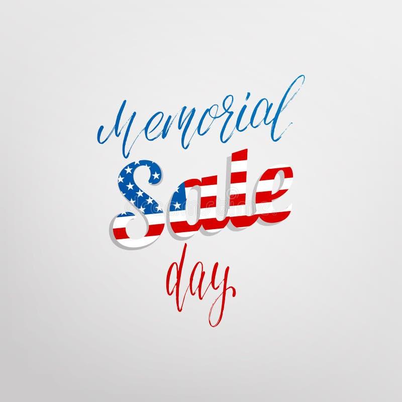 Vente de Memorial Day Carte de vacances avec la calligraphie pour la proposition de Jour du Souvenir, vente, remise illustration stock