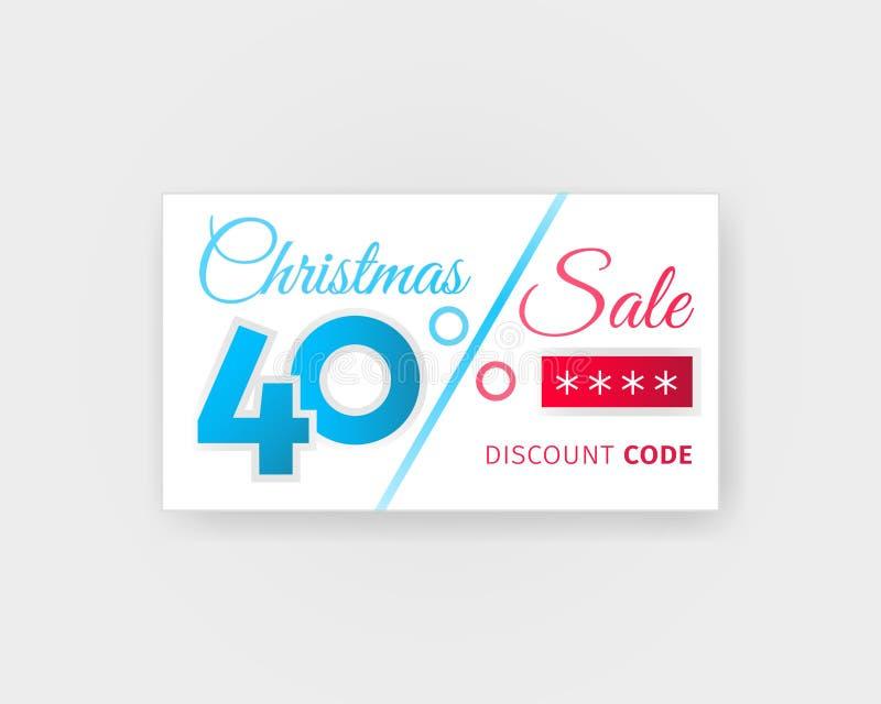 Vente de Noël bon de remise de 40 pour cent Carte de vente avec la conception de calibre de code de promo Bannière blanche réalis illustration libre de droits