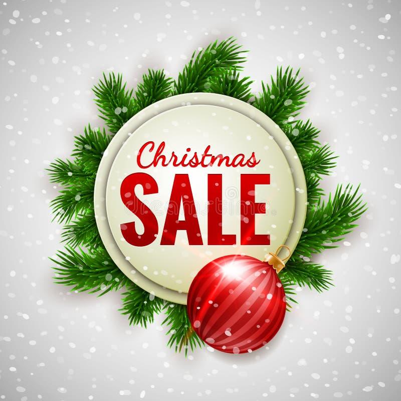Vente de Noël faisant de la publicité la bannière blanche décorée des branches de sapin et de la babiole rouge sur le fond d'expo illustration libre de droits