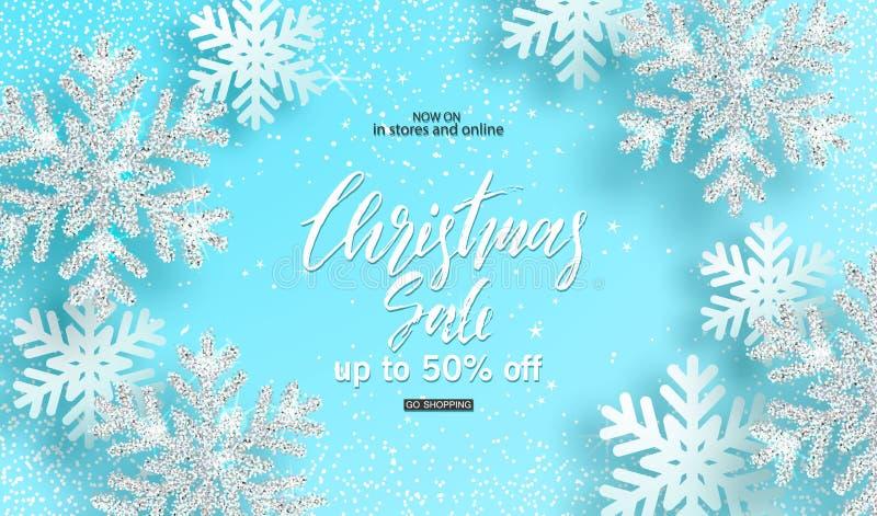 Vente de Noël Fond avec les flocons de neige argentés brillants sur le fond bleu Concevez pour l'invitation, bannières, annonces, illustration stock
