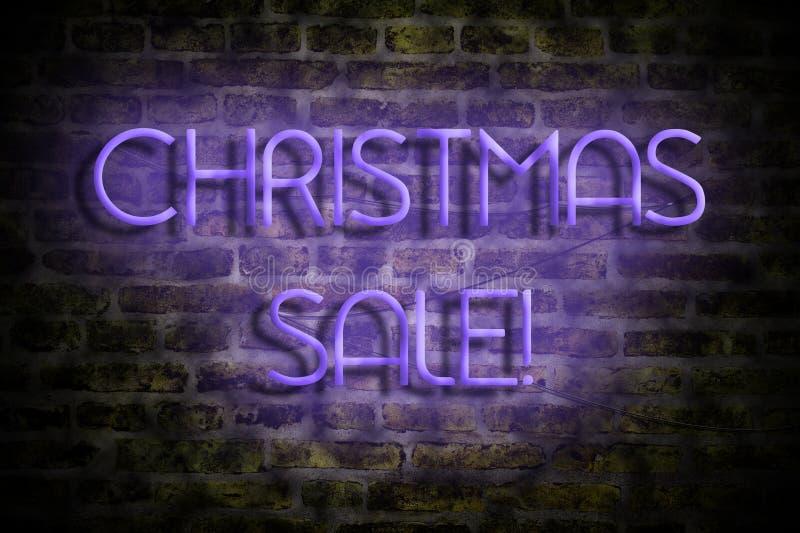 Vente de Noël Inscription au néon sur le fond d'un vieux mur de briques Business trade Ventes saisonnières de ventes illustration libre de droits