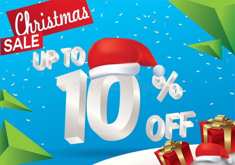 Vente de Noël 10 pour cent Fond de vente d'hiver avec le texte de la glace 3d avec la bannière et la neige du père noël de chapea illustration libre de droits