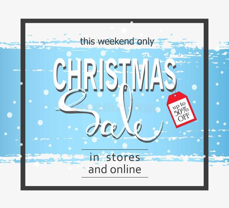 Vente de Noël sur un fond bleu Rappe de balai Drapeau de vecteur illustration stock