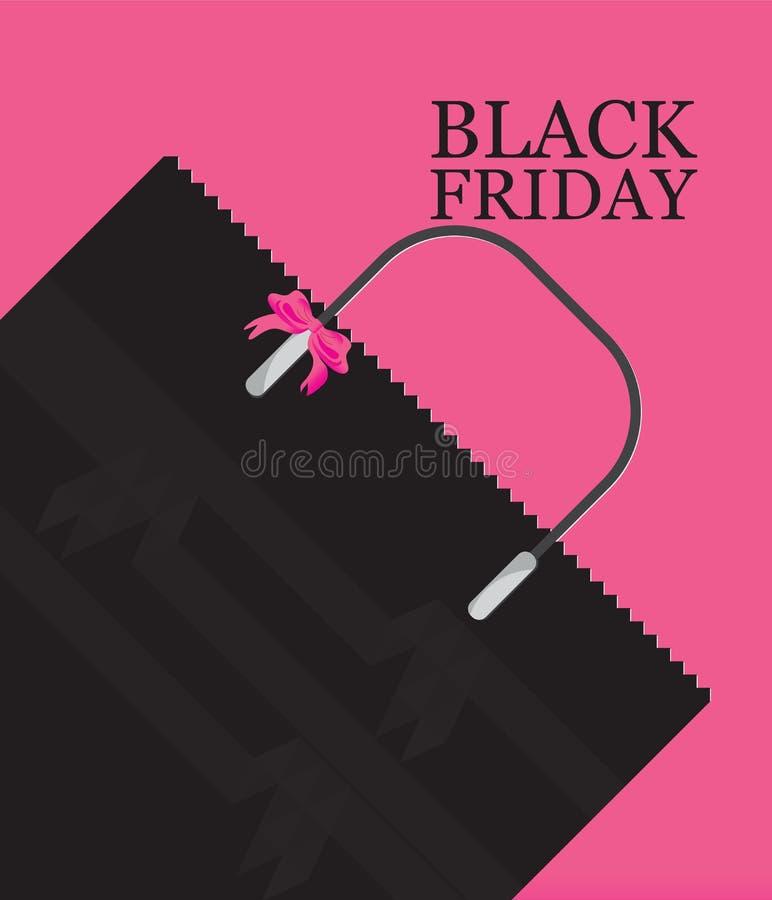 Vente de panier de Black Friday sur le fond rose illustration stock