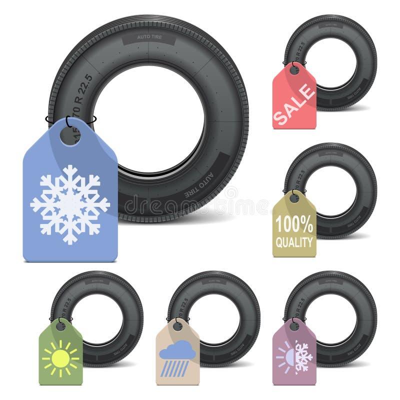 Vente de pneu de saison de vecteur illustration libre de droits
