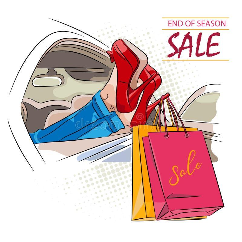 Vente de saison d'achats, fille dans la voiture dans des chaussures rouges avec des paniers L'illustration avec le lettrage peut  illustration de vecteur