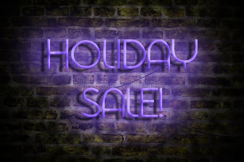Vente de vacances Inscription au néon sur le fond d'un vieux mur de briques Business trade Ventes saisonnières de ventes illustration libre de droits