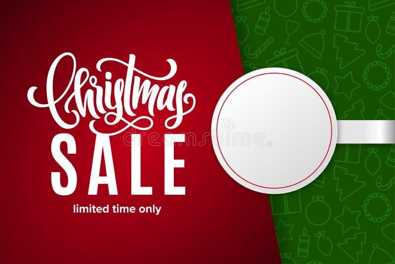 Vente de vacances de Noël avec l'espace de copie sur l'autocollant de papier Fond avec des icônes Temps limité seulement illustration libre de droits
