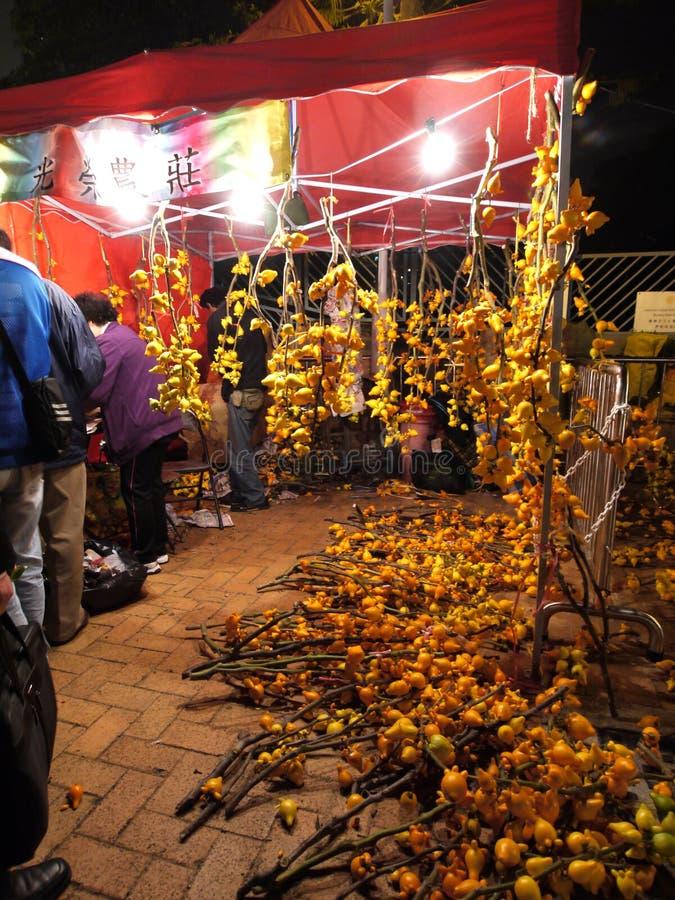 Vente des fleurs pendant l'an neuf lunaire chinois photo stock