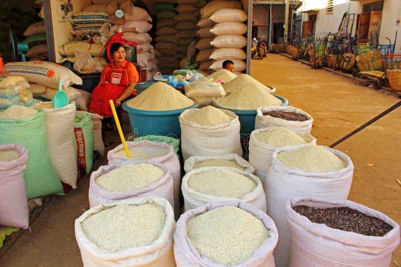 Vente du riz image libre de droits