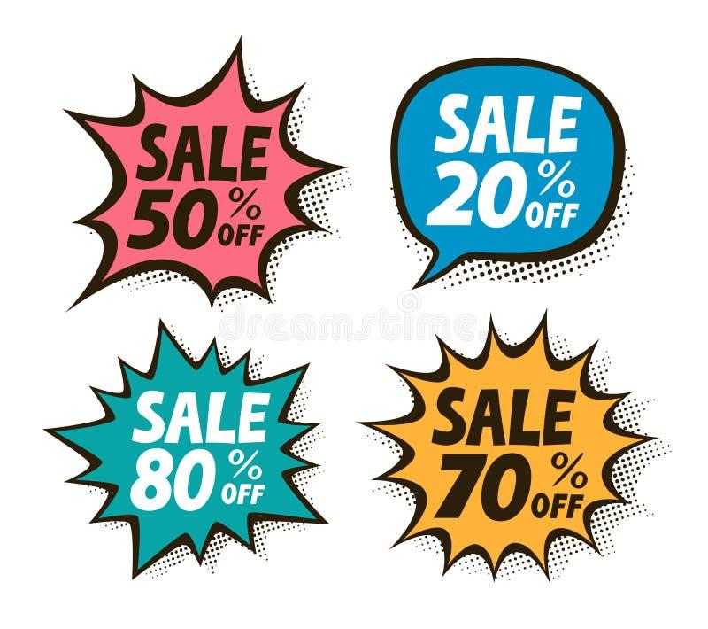 Vente, ensemble de label Affaires, achats, symbole de mail dans style comique d'art de bruit le rétro Illustration de vecteur illustration de vecteur