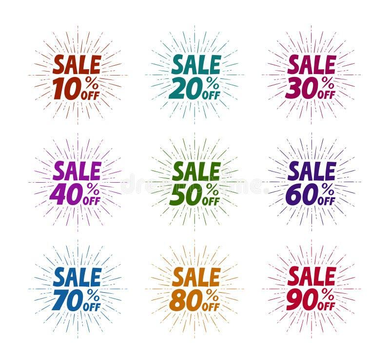Vente, ensemble de label Affaires, magasin, symbole de mail Illustration de vecteur illustration stock