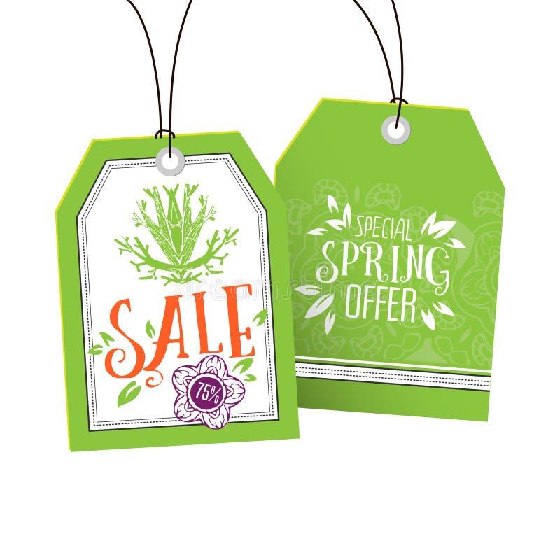 Vente et étiquettes spéciales d'offre de ressort illustration stock