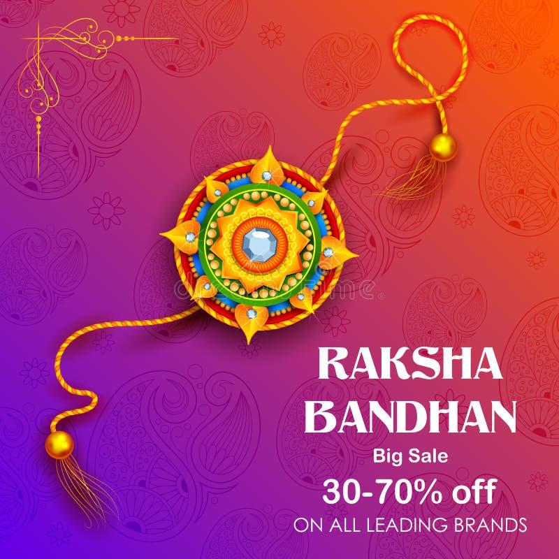 Vente et affiche de bannière de promotion avec Rakhi décoratif pour Raksha Bandhan, festival indien de frère et de liaison de soe illustration de vecteur