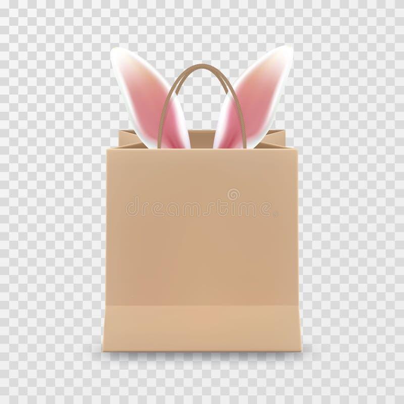 Vente heureuse de Pâques Sac à provisions de papier réaliste avec des poignées d'isolement sur le fond transparent Illustration d illustration libre de droits