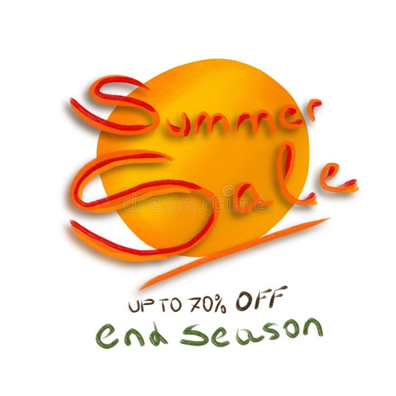 Vente jusqu'à 70%, saison de fin, papier peint d'été de bannière de fond illustration stock