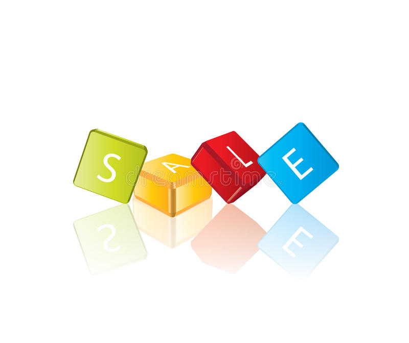 Vente - lettres de cube illustration de vecteur
